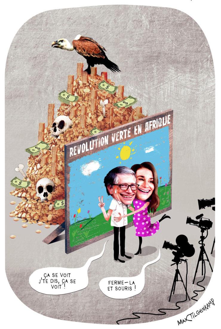 La Bill & Melinda Gates Foundation en Afrique. Un dessin de Max Tilgenkamp.